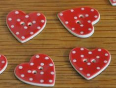 ceramic red dot heart buttons