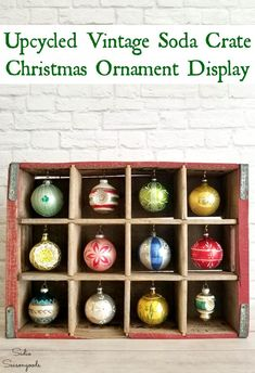 : vintagecrate farmhousechristmas vintageChristmas ChristmasDecor rusticChristmas Christmasdecorations Create a rustic Create a rustic Christmas ornament stand or ornament display with this upcycling idea from Sadie Seasongoods simply repurpose a v Rustic Christmas Ornaments, Old Christmas, Christmas Mantels, Vintage Ornaments, Christmas Holidays, Christmas Crafts, Ornaments Ideas, Christmas Ideas, Antique Christmas Decorations