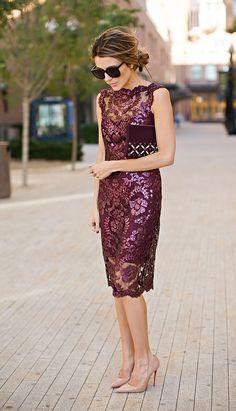 marsala formal dress with nude heels