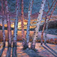 Forest Painting - Wish You Were Here by Johnathan Harris Birch Trees Painting, Birch Tree Art, Forest Painting, Landscape Artwork, Watercolor Landscape, Winter Scenery, Winter Landscape, Canvas Art Prints, Fine Art America