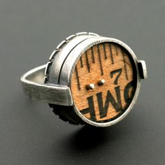 """Kristi Zevenbergen: , Ruler ring in sterling silver and found object. 1 x 0.87 x 0.75"""""""