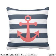 Nautical Navy Blue Stripes Coral Anchor