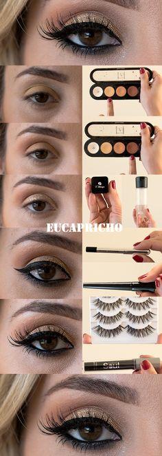 Inspiração maquiagem para a ceia de natal - veja o passo a passo de uma linda maquiagem para usar na noite de natal! linda e fácil! Makeup For Green Eyes, Love Makeup, Makeup Tips, Beauty Makeup, Makeup Looks, Bridal Eye Makeup, Wedding Makeup, How To Make Hair, Eye Make Up