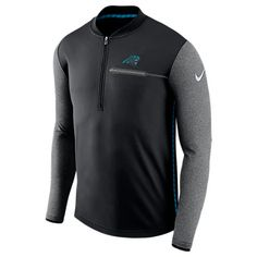 NIKE NIKE MEN'S CAROLINA PANTHERS NFL COACHES HALF-ZIP JACKET, BLACK. #nike #cloth #