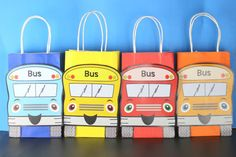 DIY Wheels on the Bus Party Theme Personalized Favor Bags. Simply Download, Add Name, Print, Cut and Paste. Print as many copies as you need. You can personalize each of your Favor Bags with your guest names.