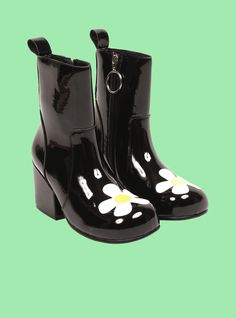 8ce040512e1e The UNIF Moxie Heart boot. Mod-inspired vinyl ankle boot with ring zipper  pull and appliqué heart on toe box.