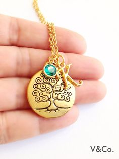 Gold Tree Necklace with Initial and Swarovski Birthstone, Friendship Jewelry, Symbolic Jewelry, Brid