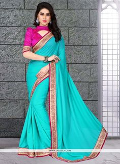 This season your look gets better definition with just a little attention to detail. Add a vibrant burst of color to your wardrobe with this sea green georgette designer saree. The brilliant attire cr. Ladies Suits Indian, Suits For Women, Clothes For Women, Indian Designer Sarees, Designer Sarees Online, Saree Blouse Patterns, Saree Blouse Designs, Ethnic Outfits, Indian Outfits