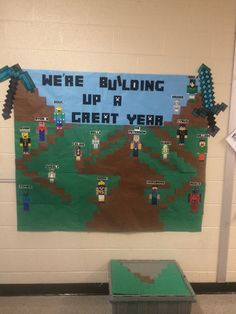 Minecraft classroom bulletin board door