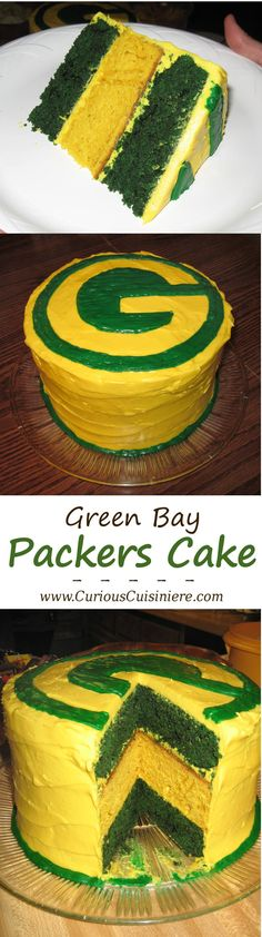 This green and gold Green Bay Packers Cake is a show stopping layer cake that will ensure your Packers party is a touchdown!