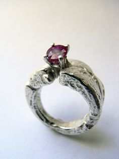 Freeform silver ring with ruby. Kelvin J. Birk