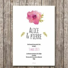Hand-painted flowers  wedding invitation - Rustic and romantic watercolor wedding invitation (printable version available)