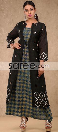 Black and Multi Color Cotton Jacket Style Kurti