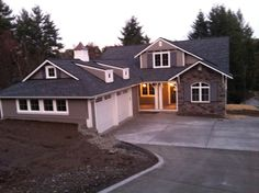 Choice Construction, Remodel, Custom Homes, Gig Harbor, Home Exterior, Driveway, Front Entry, Beams, Porch