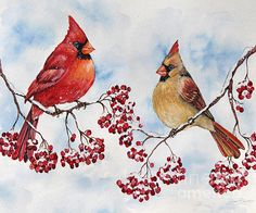 Check out this new painting that I uploaded to plout-gallery.pixels.com! http://plout-gallery.pixels.com/featured/cardinals-and-winter-berries-jp3895-jean-plout.html