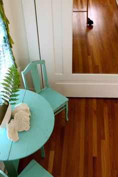 Alisha's Bright White Guest Cottage: turquoise / aqua rustic wooden table and chairs! <3