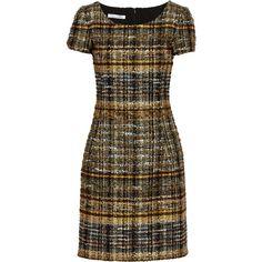 Oscar de la Renta Metallic tweed dress ($876) ❤ liked on Polyvore featuring dresses, gold, multicolor dress, slim fit dress, multi colored dress, colorful dresses and oscar de la renta