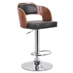Baxton Studio Sitka Walnut and Black Modern Bar Stool by Baxton Studio. $131.99. Protective plastic ring on base bottom. Walnut effect veneer over plywood. Chrome-plated steel post and base. Adjustable height and 360 degree swivel. Black faux leather seat with polyurethane foam padding. You will be sittin pretty in no time flat when our Sitka Bar Stool is involved. This contemporary bar chair is a stunner with a walnut veneered plywood and black faux leather se...