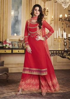 0d9f978e31 Subtle red partywear palazzo suit online which is crafted from georgette  fabric with exclusive embroidery and print. This stunning designer anarkali  suit ...