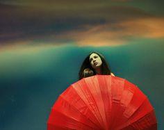 red,umbrella,woman,sky