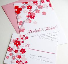 Pink and red wedding invitation - See more at http://themerrybride.org/2014/10/26/pale-pink-and-red-wedding/