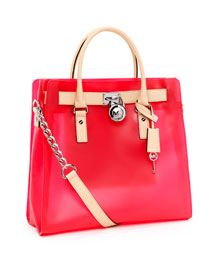 MICHAEL Michael Kors Large Hamilton Frosted Jelly Tote, Neon Pink,REPLICA MICHAEL KORS HANDBAGS WHOLESALE