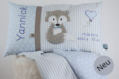 Namenskissen Fuchs in blau You are looking for an individualized gift for birth or baptism? Then you are exactly right with us. We offer you high-quality pillows and baby blankets, which are lovingly handmade in Germany. By hand with Herz😊. Cute Pillows, Baby Pillows, Throw Pillows, Baby Blankets, Baby Zimmer, Personalized Pillows, Girl Room, Baby Room, Decorative Pillows