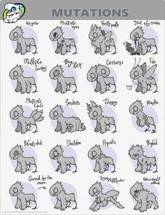 JR Mutations sheet by Simonetry on DeviantArt Cute Animal Drawings, Kawaii Drawings, Cool Drawings, Cute Fantasy Creatures, Mythical Creatures Art, Creature Concept Art, Creature Design, Drawing Base, Drawing Tips