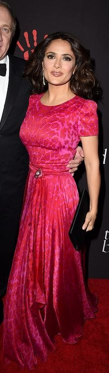 Who made  Salma Hayek's pink leopard print gown?