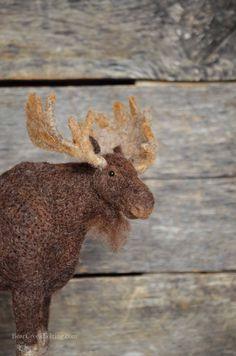 Moose in Progress - Bear Creek Felting | pictures of the needle felting process.