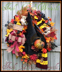 Harry Potter Hogwarts Halloween Wreath, Owl , Prof. McGonnagall Witch hat, Gryffindor