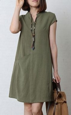 Tea green cotton sundress oversize summer linen dress