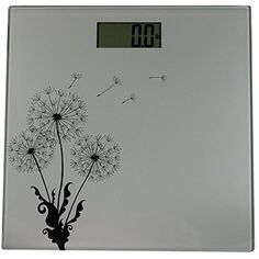 Sunnydaze Precision Digital Glass Bathroom Scale with Step-On Technology and Large LCD Display, Silver Dandelion Design >>> More info could be found at the image url. (This is an affiliate link) #HealthMonitors