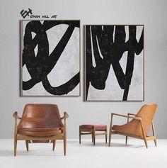 Large Set of 2 Abstract Art Minimalist Painting Canvas Art image 4
