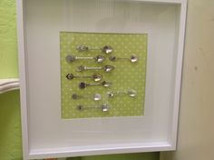 Souvenir spoon display...cheap frame from IKEA, scrapbook paper and sticky dots
