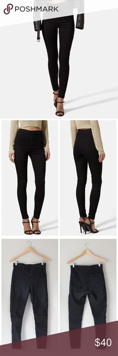 'Moto Joni' High Rise Skinny Jeans Perfect black jeans in a high rise cut, skinny black. In excellent gently used condition. Topshop Jeans