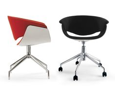 Drehbarer Stuhl aus Stoff auf fixem Fußgestell sina Kollektion Sina by B