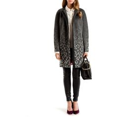 Ted Baker Ceceli Exotic Print Cocoon Coat ($549) ❤ liked on Polyvore featuring outerwear, coats, black, long sleeve coat, ted baker, black leopard coat, black coat and leopard print coat