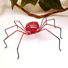 Red Spiders Two Handmade Copper Wire Art by SpiderwoodHollow, $18.00
