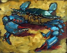 Crab 101, oil on panel painting 2012 by artist Rick Nilson. I like the idea of using this big brush-strokes to create a shape of a crab using different textures and colors. I'll make a painting of my own crab using this technique and acrylic painting.