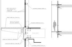Detalle Muro Cortina Con Pasarela Transitable Y Sección Vertical Muro