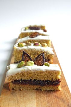 in the kitchen with: ming thompson's layer cake Pistachio Olive Oil Cake with Fig Compote Filling and Cream Cheese Frosting // WOW WOW WOW WOW! Fig Recipes, Sweet Recipes, Cake Recipes, Dessert Recipes, Food Cakes, Cupcake Cakes, Cupcakes, Just Desserts, Delicious Desserts