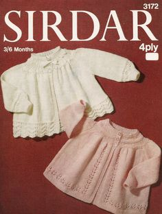 Knitting Pattern Baby Matinee Coats 4 Ply 3-6 Months PDF Instant Download by Sweetbabypatterns on Etsy