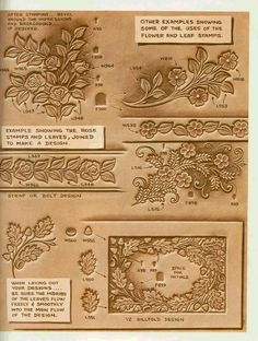 Stohlmans patterns and doodle pages Tandy Leather, Leather Art, Custom Leather, Leather Design, Leather Tooling, Leather Jewelry, Leather Carving, Leather Engraving, Leather Working Patterns