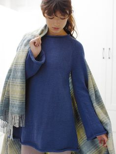 Hampstead - Knit this womens stocking stitch tunic from Easy DK Knits; a design by Martin Storey using the exciting Super Fine Merino DK (100% wool). With a rolled neckband and full length slightly flared sleeves, this knitting pattern is for the intermediate knitter.