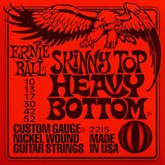 Ernie Ball 2215 Skinny Top Heavy Bottom - Jeu de 6 cordes pour guitare électrique. Tirants : 010 - 013 - 017 - 030 - 042 - 052