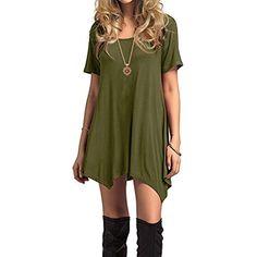 Women s Ladies Short Sleeves Plain Swing Dress Tunic Dress T-Shirt Casual  Dress Loose 1ab562f60