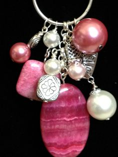 Pretty Pink Stone, Tibetan Silver, Pearl Bauble..could do something like this with that pink stone