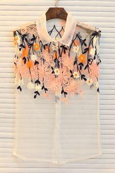 Sheer Embroidered Shirt OASAP.com