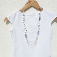 Love the chain detailmon the bottom!!     .......Lavender Necklace Multi Strand Long Long Silver Necklace by JanJat, $90.00